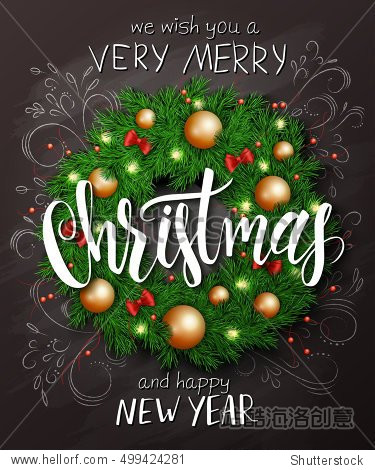 Vector christmas poster with christmas decoration spruce wreath with christmas ornaments  bows  and lettering greetings text