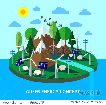 Green energy eco island with mountains  trees  solar panels and wind mill. Ecology lifestyle. Vector illustration for info graphic  brochure and web design.