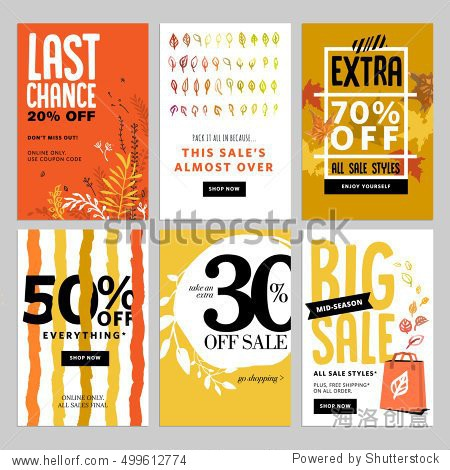 Social media sale banners  and ads web template set. Vector illustrations of season online shopping website and mobile website banners  posters  email and newsletter designs  ads  coupons.
