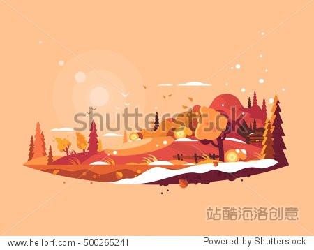 Landscape autumn vector