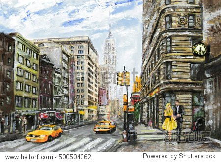 oil painting on canvas  street view of New York  man and woman  yellow taxi   modern Artwork   American city  illustration New York