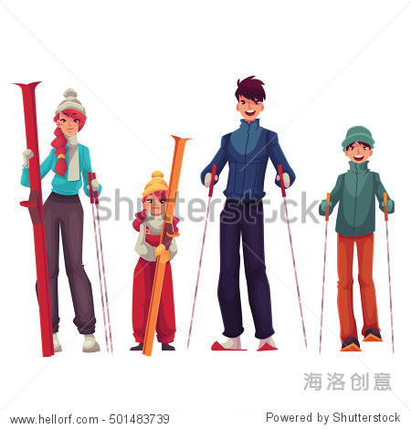 Full length family portrait of father  mother  daughter and son with ski  cartoon vector illustration isolated on white background. Cheerful family in winter clothes with ski and ski poles