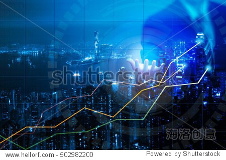 Double explosure with businesss charts and financial district of megapolis city  Double exposure of businessman  cityscape and financial graph on blurred building background