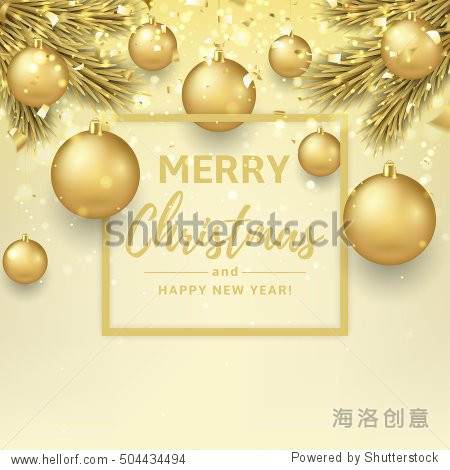 Merry Christmas and Happy New Year illustration. Beautiful gift card with golden balls on fir tree branches. Elegant vector background with gold confetti for xmas design.