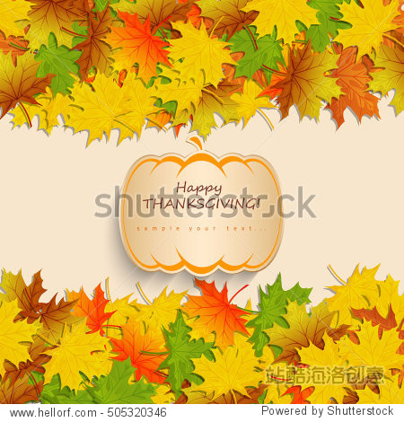 Happy Thanksgiving Day background with pumpkin with autumn maple leaves