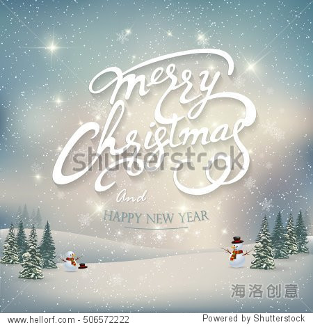Vintage Merry Christmas And Happy New Year Lettering Vector illustration