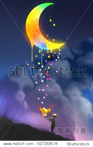 the kid opening a fantasy box and looking up a magic gift colorful melting moon illustration painting