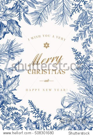Greeting Christmas card in vintage style. Winter background. Vector frame with pine branches  berries  holly  mistletoe  and ferns. Botanical illustration. Blue.