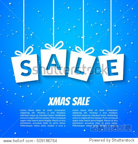 Christmas sale poster template. Xmas sale background. Winter holiday discount offer clearance blue template