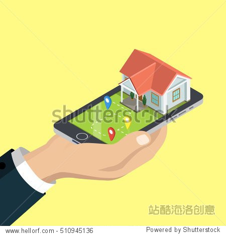 Flat isometric human hand holding smartphone with house and GEO location marks vector illustration. 3d isometry GPS  city transportation concept.