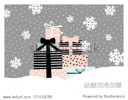 Christmas greeting card design with a pile of Christmas presents in pastel colors. Modern winter season poster  brochure  wall art design.