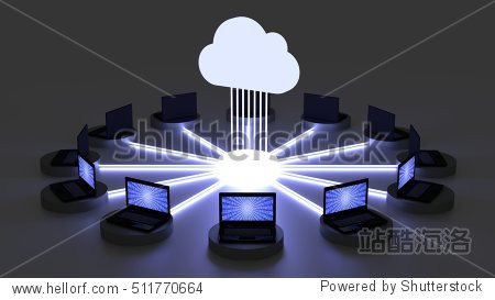 Twelve laptops surrounding a circle connected to a glowing cloud symbol in a dark room 3D illustration