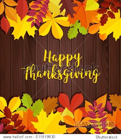 Happy Thanksgiving day banner. Autumn leaves frame for holiday text on wood background. Family traditional holiday illustration