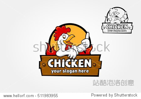 A happy funny Cartoon Rooster chicken giving a thumbs up  vector logo illustration