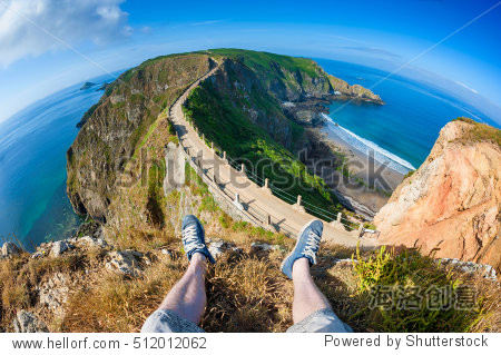 First person perspective on Isthmus on Sark, Channel Islands, UK.