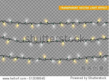 Christmas lights isolated realistic design elements. Glowing lights for Xmas Holiday greeting card design. Garlands  Christmas decorations.