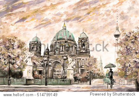 oil painting on canvas  street view of Berlin   Artwork European landscape in sepia  green and yellow color. man and woman under umbrella. Trees  Tower   Cathedral. Germany