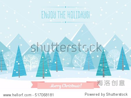 Beautiful Chrismas winter flat landscape background. Christmas forest woods with mountains. New Year vector greeting card