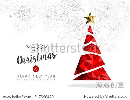 Merry christmas and happy new year red xmas pine tree in low poly style  holiday decoration card design. EPS10 vector.