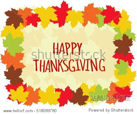 Happy Thanksgiving day greeting card  colorful maple leaves frame - vector