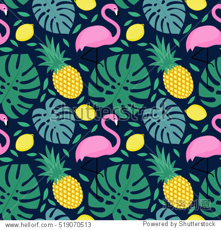 Seamless pattern with flamingo  pineapple  lemon and green palm leaves on dark blue background. Tropical monstera leaves illustration with fruits and exotic bird.Fashion design for textile  wallpaper.