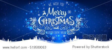 Christmas and New Year Typographical on shiny Xmas background with winter landscape with snowflakes  light  stars. Merry Christmas card. Vector Illustration