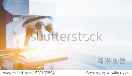 laboratory  microscope for chemistry biology test samples examining  liquid Medical equipment Scientific and healthcare research background.vintage color