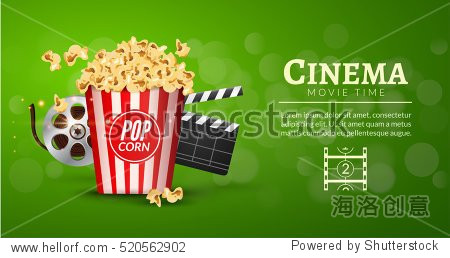 Movie film banner design template. Cinema concept with popcorn  filmstrip and film clapper. Theater cinematography poster