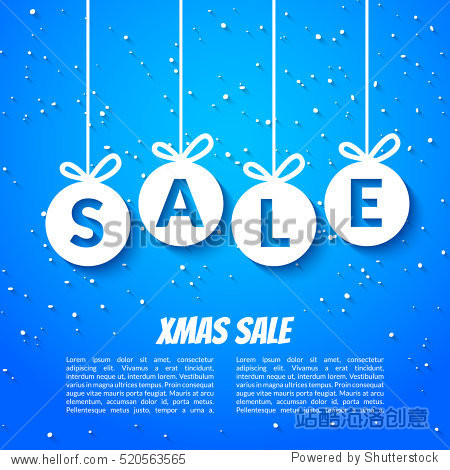 Christmas balls sale poster template. Xmas sale background. Winter holiday discount offer clearance blue template