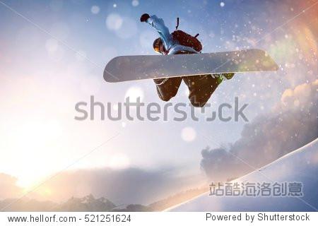 Snowboarder in Flight