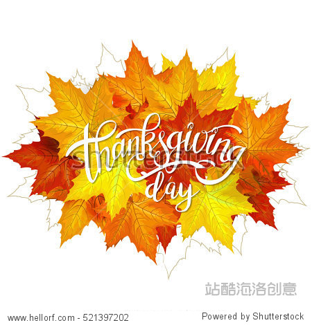 Happy Thanksgiving Day Handwritten Lettering background design with Autumn Maple Yellow and Orange Leaves