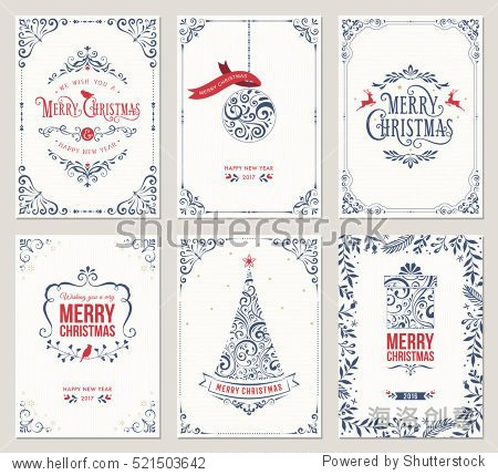 Ornate vertical winter holidays greeting cards with New Year tree  gift box  Christmas ornaments and typographic design.Vector illustration.