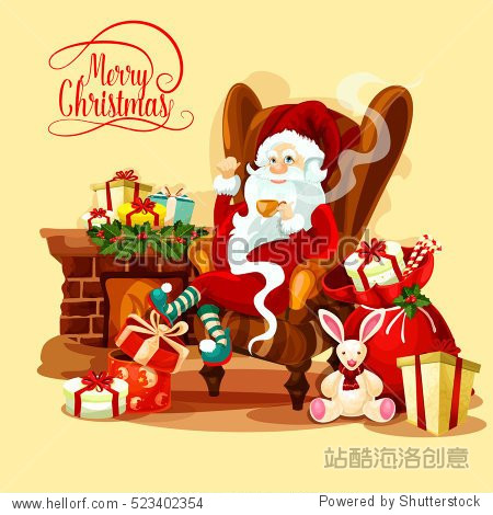 Santa Claus resting with cup of tea near fireplace in living room  decorated with holly berry garland  gift and present boxes  candy cane and toy rabbit. Christmas card or New Year placard design