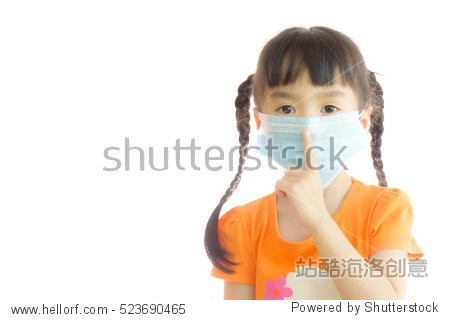 Girl wearing a mask to prevent dust and germs.