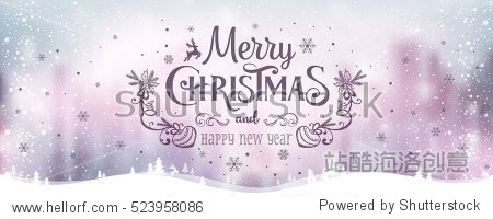 Merry Christmas and New Year typographical on holidays background with winter landscape with snowflakes  light  stars. Vector Illustration. Xmas card