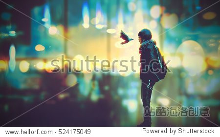 futuristic girl and a bird look each other in the eyes on night city background illustration painting