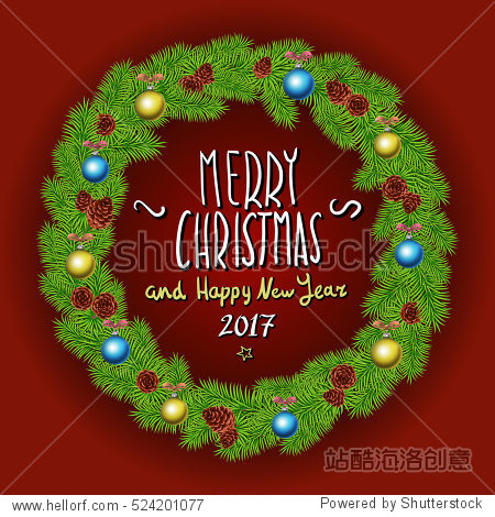 Merry Christmas And Happy New Year 2017 Vintage Background With Typography White card with Christmas wreath. illustration. art