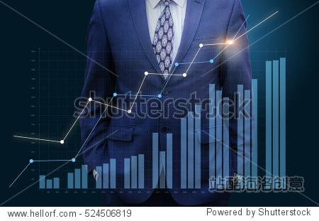 Businessman watching graph growth.