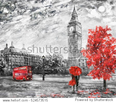 oil painting on canvas  street view of london. Artwork. Big ben. man and woman under a red umbrella  bus and road. Tree. England