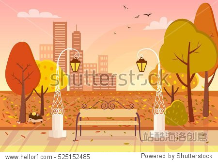 Autumn city park at sunset. Wooden bench  vintage street lights  colorful trees  defoliation  city buildings  setting sun  hedgehog flat vectors. Autumn idyll. Peaceful place for evening strolling