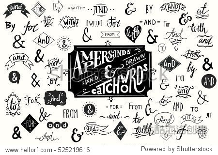Big collection of hand lettered ampersands and catchwords isolated on white background. Great vector design set for wedding invitations  save the date cards and other stationary.