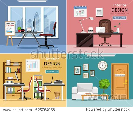 Office rooms set. Detailed graphic room interiors with furniture: office tables  chairs  laptops and office supplies. Modern workplaces. Flat style vector illustration.