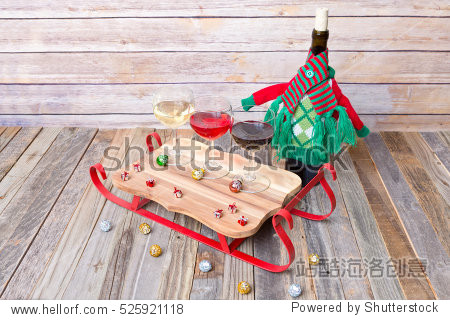 Wine flight with colorful holiday decorations