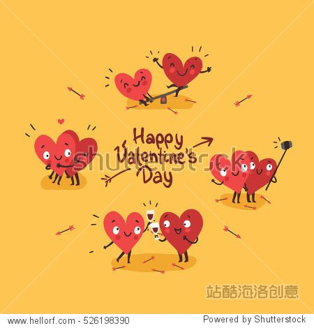 Two happy hearts in love. Cute couple in love doing activities together: drinking  swinging  making selfie. Happy Valentine's day vector card
