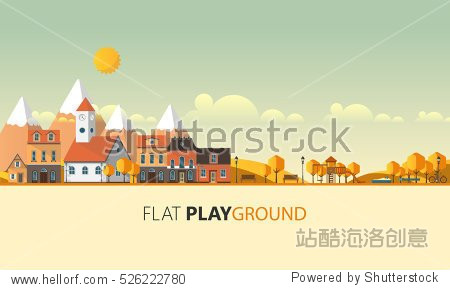Flat Design Village Abstract Landscape. Vector Illustration.