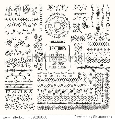 Hand drawn textures and brushes. Creative collection of vector design elements: winter holiday symbols  geometric tribal textures  cute patterns made with ink. Pattern brushes are included in EPS file