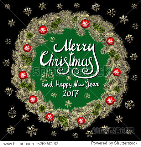 Merry Christmas And Happy New Year 2017 Vintage Background With Typography card with gold Christmas wreath. illustration. art