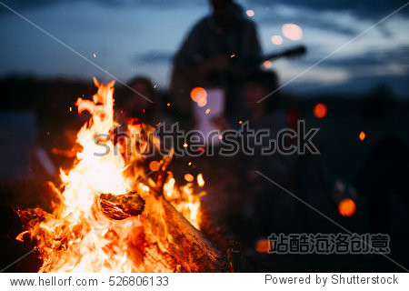 Bonfire with sparks flying around