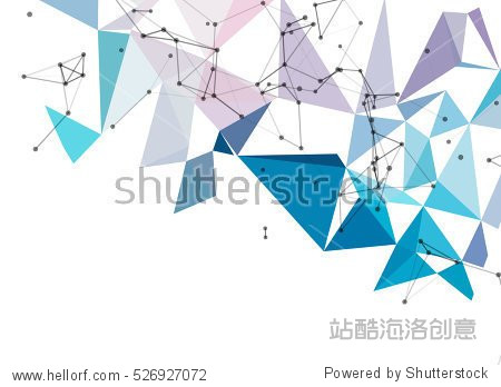 Abstract polygonal techno background. Futuristic style card. Business presentations. Lines  point  planes in 3d space. Cybernetic dots  creative banner.