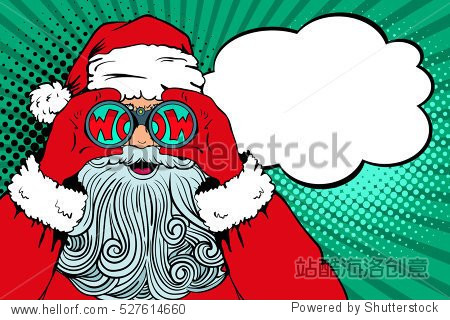 Wow pop art Santa Claus with open mouth holding binoculars in his hands with inscription wow in reflection and speech bubble. Vector illustration in retro pop art comic style. Christmas invitation.